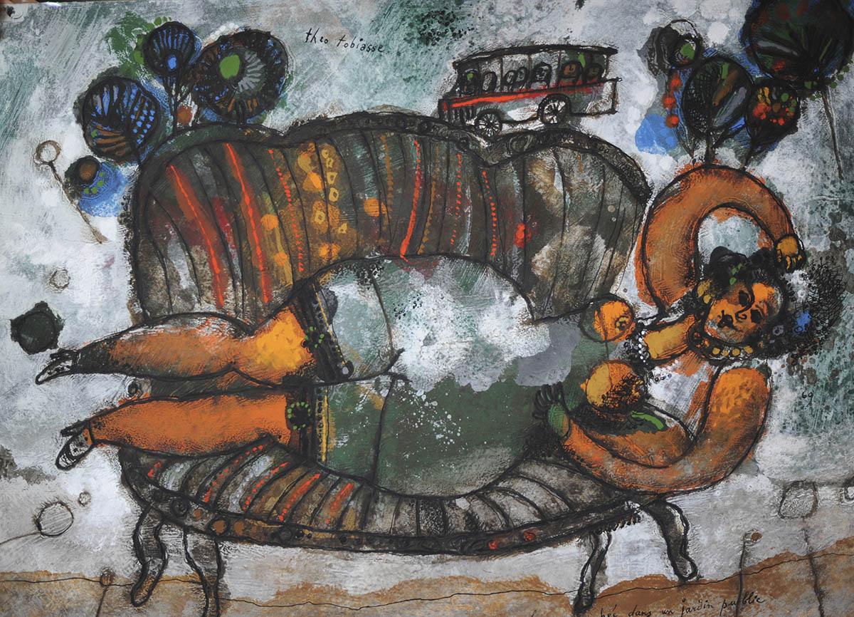 Femme couchée dans un jardin public toile Théo TOBIASSE